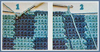 Un damier bicolore et une bordure en long et en large - Changer de couleur tricot ...